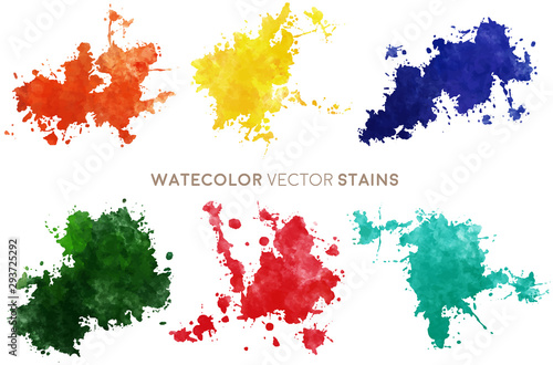 Watercolor Vector Stains - 293725292