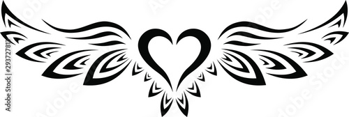 Vászonkép  Black and White Tribal Tattoo Heart with Wings