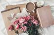Leinwanddruck Bild - Sketchbook and coffee on wooden tray