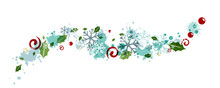Christmas Decoration From Flying Snowflakes, Holly Berries And Leaves, Splash Elements And Swirls.