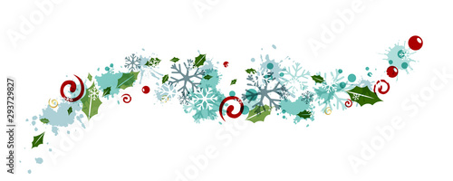 Cuadros en Lienzo  Christmas decoration from flying snowflakes, holly berries and leaves, splash elements and swirls