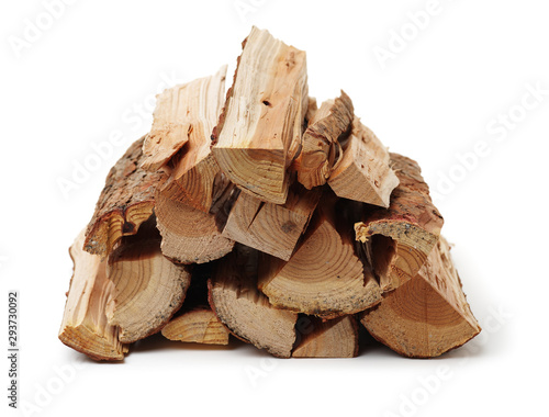 Poster Firewood texture Pile of firewood isolated on a white background