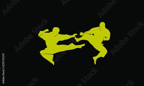 Photo karate silhouette illustration vector template