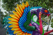 Nov-2018, Mexico City. Day Of The Dead Celebration, Colorful Craftsmanship Of Popular Skulls And Magic Creatures Alebrijes On Reforma Avenue