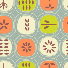Abstract Seamless Pattern Of Fruits. Retro Scandinavian Style. For Fabrics, Wallpaper, Interior Decor.