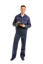 Male Car Mechanic With Clipboard On White Background