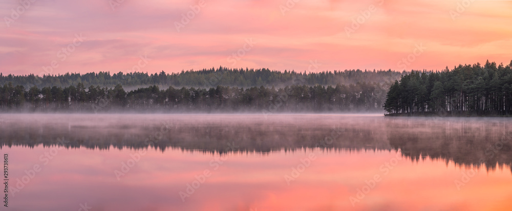 Fototapety, obrazy: Beautiful sunrise landscape with misty mood and calm lake at foggy summer morning in Finland