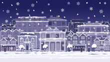 A Christmas Night Street Scene With Victorian And Georgian Style Houses, Shops And Other Buildings In The Snow. Seamlessly Tilable So You Van Make Longer Images.