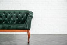 Comfortable Sofa Near White Br...