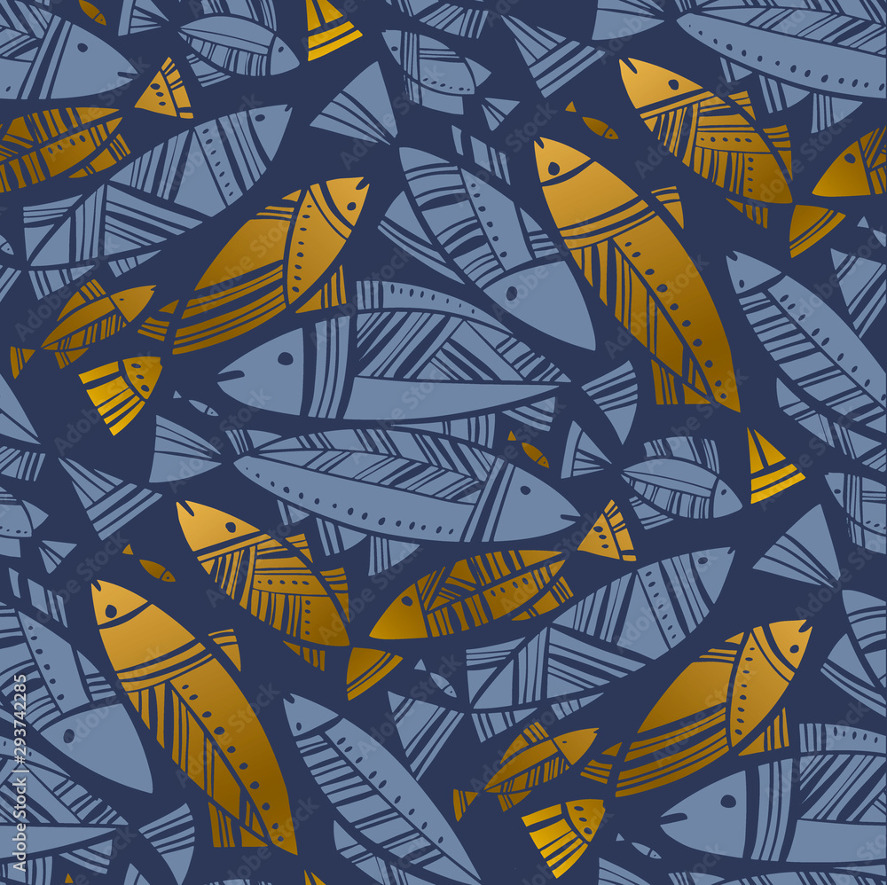 Fototapety, obrazy: Blue and gold abstract herring or cod seamless pattern