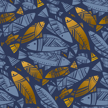 Blue And Gold Abstract Herring Or Cod Seamless Pattern