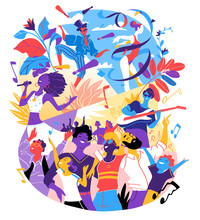 Poster For Summer Music Festival, Celebration, Holiday Party. A Group Of People, Family, Friends Happy To Be Together Celebrating A Special Event. Vector Illustration
