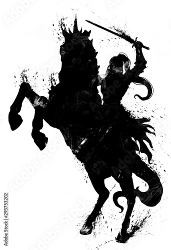 Photo The blotchy silhouette of a female knight with a sword exulting astride a rearing horse