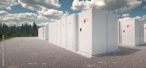Photo Concept of renewable energy battery storage system in nature