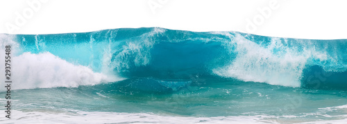 Powerful ocean blue waves with white foam isolated on a white background. Wide format.