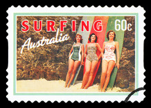 AUSTRALIA - CIRCA 2013: A Stamp Printed In Australia Dedicated To Surfing, Shows Beach Beauties, Circa 2013