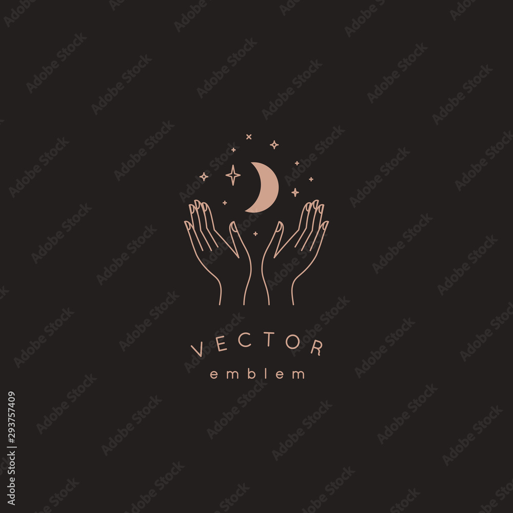 Fototapeta Vector abstract logo design template in trendy linear minimal style - hands and stars