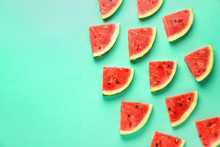 Many Slices Of Watermelon On Color Background