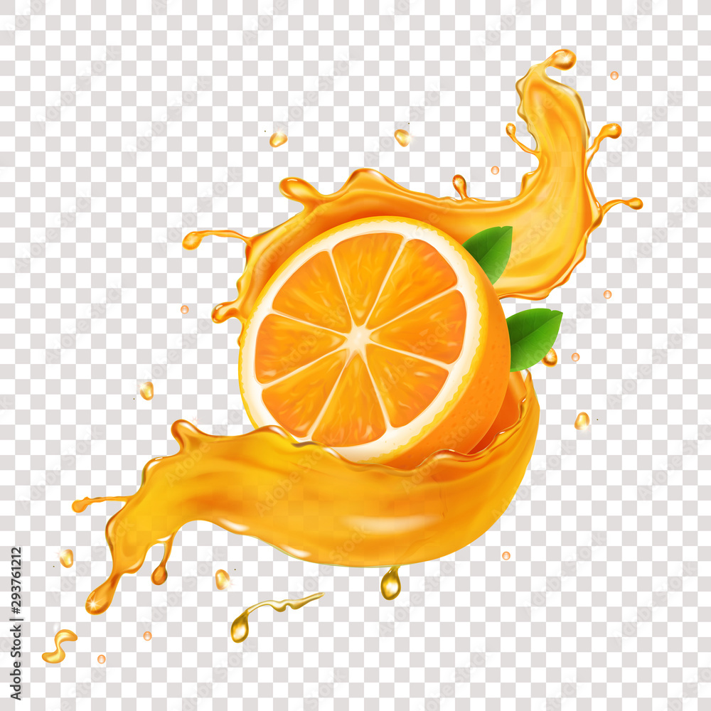 Fototapeta Juicy orange fruit in realistic orange juice splash