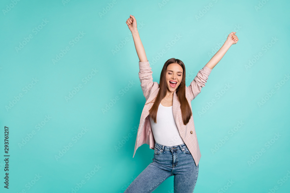 Fototapeta Portrait of her she nice-looking attractive lovely cheerful cheery satisfied delighted straight-haired girl great accomplish isolated over bright vivid shine blue green teal turquoise background