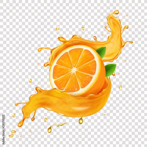 Fotografie, Obraz Juicy orange fruit in realistic orange juice splash