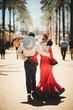 canvas print picture - pareja andando de espaldas con vestido rojo