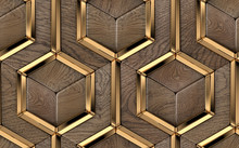 3D Wallpaper Of Luxury 3D Tiles Made Of Solid Precious Wood Elements And Gold Metal Decor Elements. High Quality Seamless Realistic Pattern.