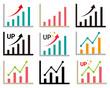 アイコン 線 アップ グラフ 折れ線グラフ 株価 チャート 棒グラフ