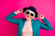 canvas print picture - Close-up portrait of her she nice attractive fascinating well-dressed cheerful gray-haired lady touching hat enjoying weekend isolated on bright vivid shine vibrant pink fuchsia color background