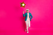canvas print picture - Full length body size view of nice-looking attractive well-dressed cheerful gray-haired lady holding balloon enjoying free time isolated on bright vivid shine vibrant pink fuchsia color background