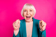 canvas print picture Close-up portrait of her she nice attractive lovely cheerful cheery glad gray-haired lady wearing blue green jacket great news isolated on bright vivid shine vibrant pink fuchsia color background