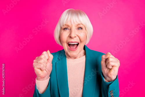 Close-up portrait of her she nice attractive lovely cheerful cheery glad gray-ha Fototapet