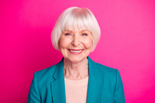 Close-up Portrait Of Her She Nice-looking Attractive Lovely Well-groomed Cheerful Cheery Gray-haired Lady Wearing Green Blue Jacket Isolated On Bright Vivid Shine Vibrant Pink Fuchsia Color Background