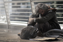 Homeless People Living In Various Cities He Waited And Needed Help From The Kind People To Give Him All The Necessary Things, Clothing, Bread, Water, And Home. He Is Dirty And Has No Money With Him.
