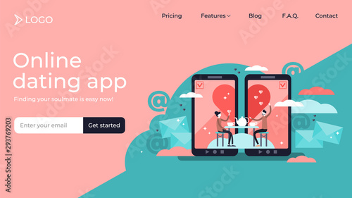 Cuadros en Lienzo  Online dating tiny persons vector illustration landing page template design