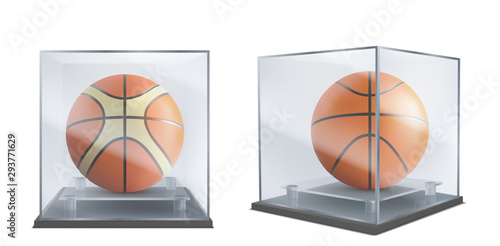 Carta da parati Basketball balls under glass cases front, side view 3d realistic vector isolated on white background