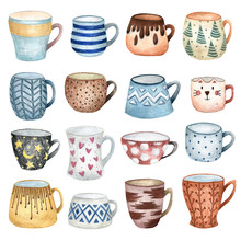 Set Of Cute Hand-drawn Watercolor Cups. A Cozy Illustration For A Postcard. A Mug With A Cat, Polka-dot, On Valentine's Day, Polka Dot, Embroidered. Winter, New Year, Christmas Illustration.