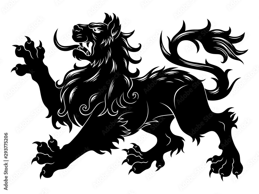 Fototapeta Heraldic passant lion