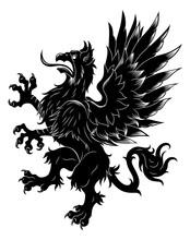 Heraldic Rampant Griffin