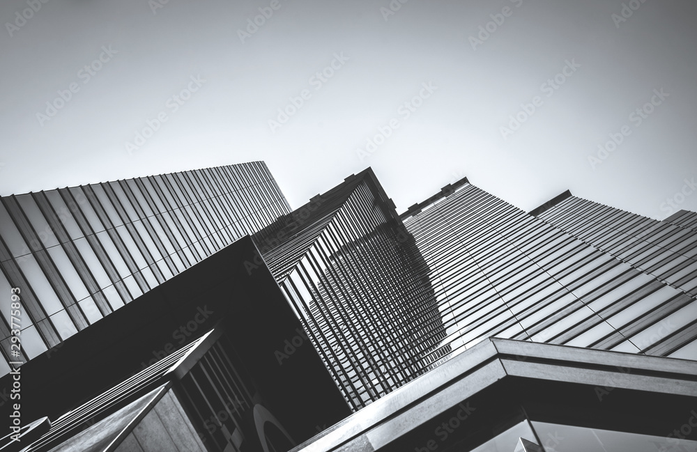 Fototapety, obrazy: Hong Kong Commercial Building Close Up; Black and White style