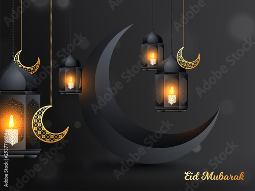 Glossy black crescent moon with illustration of hanging illuminated lanterns and golden ornamental shaped moon on black background Canvas Print