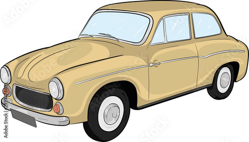 syrena, prl, polski samochód, legenda, klasyk, classic car, polish legend,cartoo Fototapeta