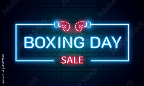 Cuadros en Lienzo  Neon text Boxing Day sale on brick wall background for advertising or promotion concept