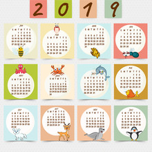 Wall Calendar Design For 2019 With Illustration Of Cute Animal Characters.