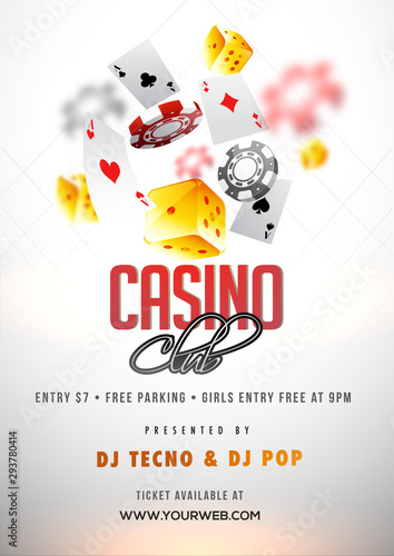 Fotografia Shiny white Casino Club poster or flyer design with illustration of 3D casino elements