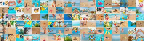 Foto auf AluDibond Orange Travel concept collage. Sea vacation. Selective focus.