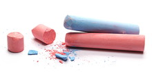 Red And Blue Chalk Isolated On White Background
