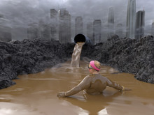 Woman Bathe In The Mud