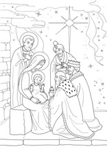 Christmas. Coloring Page With Baby Jesus, Mary Joseph, Three Wise Men. Black And White.