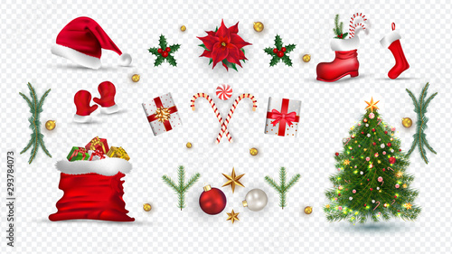 Fotografía  Christmas holidays, realistic icons.